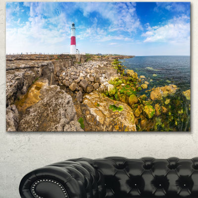 Designart Portland Bill Lighthouse Landscape Canvas Wall Art