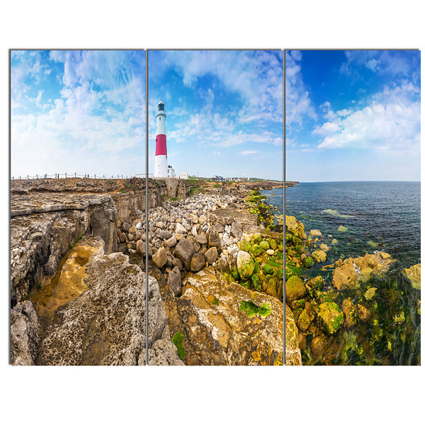 Designart Portland Bill Lighthouse Landscape Canvas Wall Art - 3 Panels