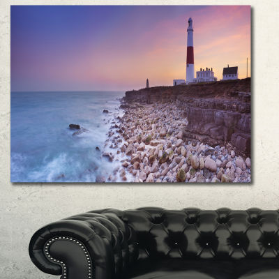 Designart Portland Bill Lighthouse In Dorset Modern Seashore Canvas Wall Art - 3 Panels
