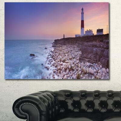 Designart Portland Bill Lighthouse In Dorset Oversized Seashore Canvas Art Print