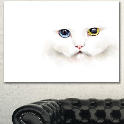 Designart Portrait Of Cute White Kitten Large Animal Canvas Artwork - 3 Panels