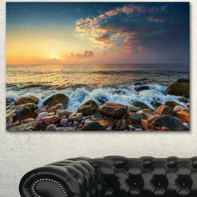Design Art Sunrise And Shining Waves In Sea LargeSeashore Canvas Art Print