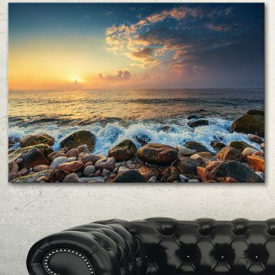 Designart Sunrise And Shining Waves In Sea LargeSeashore Canvas Art Print - 3 Panels