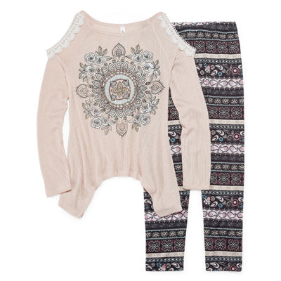 Knit Works Cold Shoulder Long Sleeve Fashion Top Legging Set- Girls' 7-16 & Plus