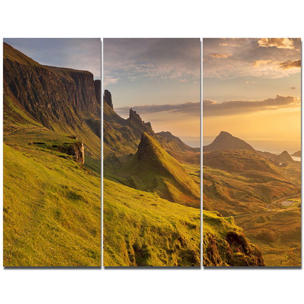Design Art Sunrise At Quiraing Scotland LandscapeCanvas Art Print - 3 Panels