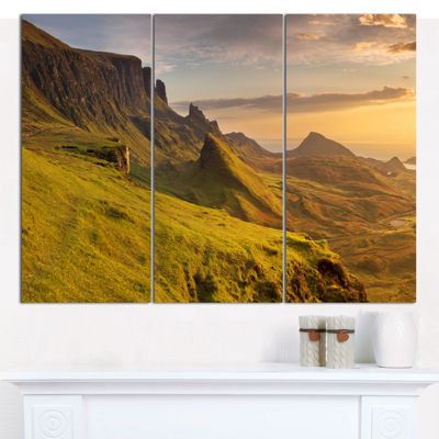Designart Sunrise At Quiraing Scotland LandscapeCanvas Art Print - 3 Panels