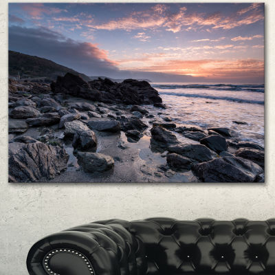 Designart Sunrise At Rocky Portholland Beach Seashore Canvas Art Print