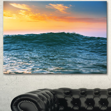 Designart Sunrise Light Shine On Sea Water LargeBeach Canvas Wall Art