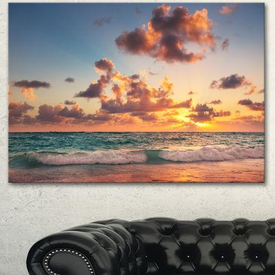 Designart Sunrise On Beach Of Caribbean Sea LargeBeach Canvas Wall Art - 3 Panels