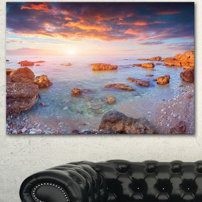 Designart Sunrise On South Coast Of Sicily Seashore Photo Canvas Art Print - 3 Panels