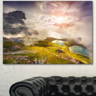 Designart Sunrise On The Lakes Del Piani Large Landscape Canvas Art Print - 3 Panels