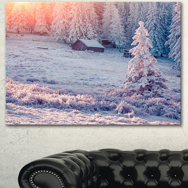 Design Art Sunrise Over Foggy Winter Forest LargeLandscape Canvas Art Print