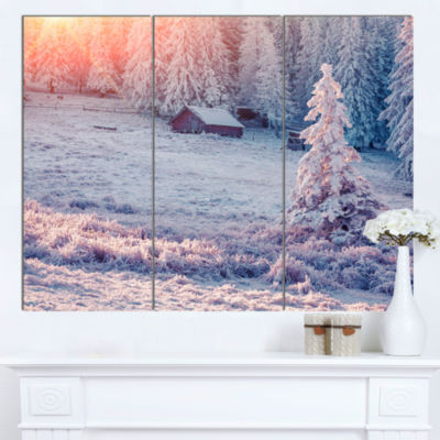 Designart Sunrise Over Foggy Winter Forest Large Landscape Canvas Art Print - 3 Panels