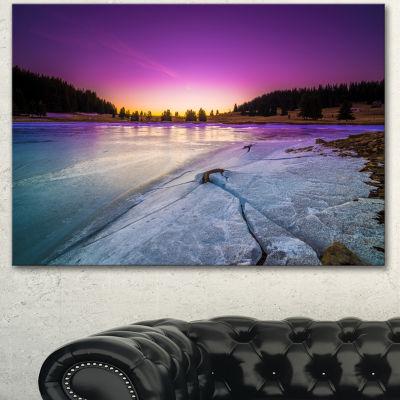 Design Art Sunrise Over Frozen Lake Landscape Canvas Art Print - 3 Panels