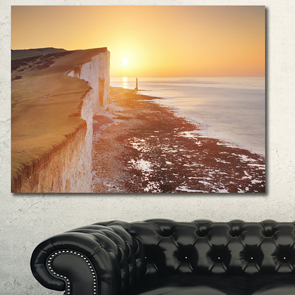 Design Art Sunrise Over South Coast Of England Modern Seashore Canvas Wall Art