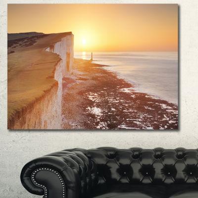 Designart Sunrise Over South Coast Of England Modern Seashore Canvas Wall Art - 3 Panels