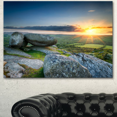 Designart Sunset At Helman Tor In Cornwall ModernSeashore Canvas Art - 3 Panels