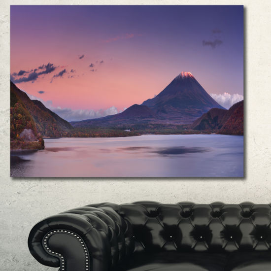 Designart Sunset At Mount Fuji And Lake Motosu Modern Landscape Canvas Art