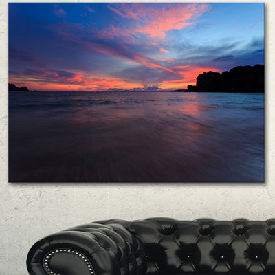 Designart Sunset At Railay Beach Andaman Sea Seashore Canvas Art Print
