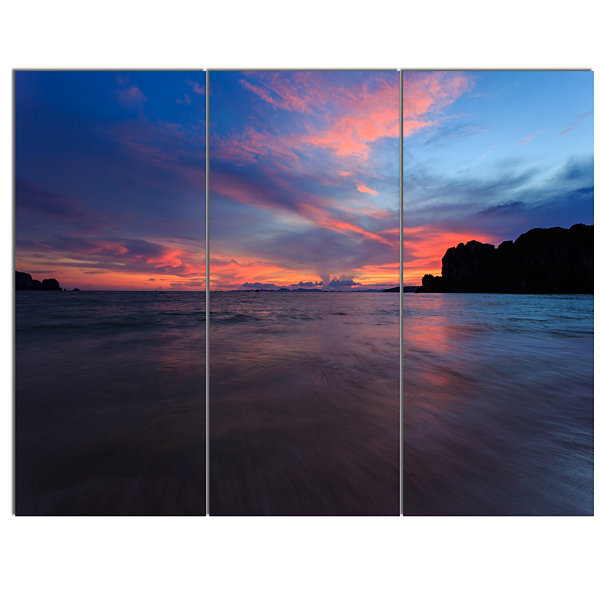 Designart Sunset At Railay Beach Andaman Sea Seashore Canvas Art Print - 3 Panels