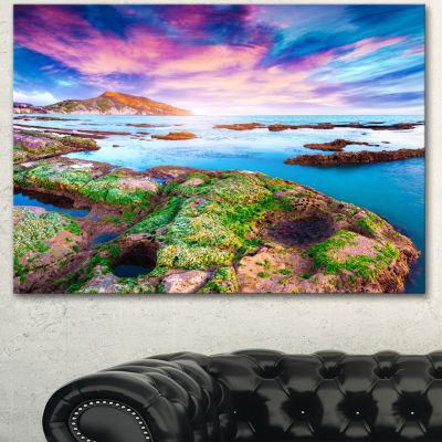Designart Sunset From The Giallonardo Beach Landscape Canvas Art Print