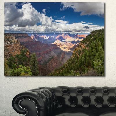 Designart Us Grand Canyon In Colorado River Landscape Canvas Art Print - 3 Panels