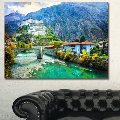 Designart Valle D Aosta Castles Italy Landscape Canvas Art Print - 3 Panels