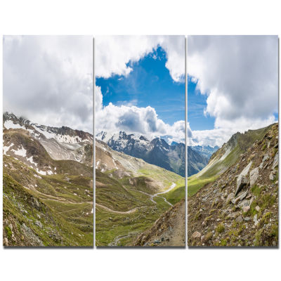 Designart Valley With Opening In Sky Landscape Canvas Art Print - 3 Panels