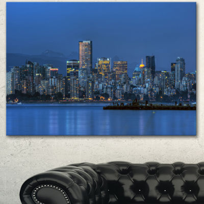 Designart Vancouver Downtown In Evening Extra Large Canvas Art Print - 3 Panels