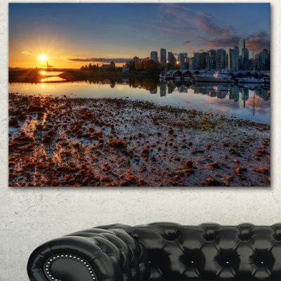 Designart Vancouver Downtown In Morning Extra Large Landscape Canvas Art Print