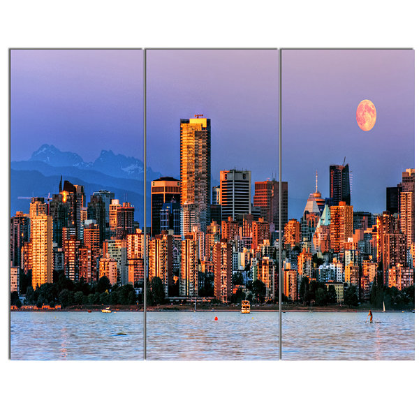 Designart Vancouver Downtown Skyscrapers Extra Large Canvas Art Print - 3 Panels