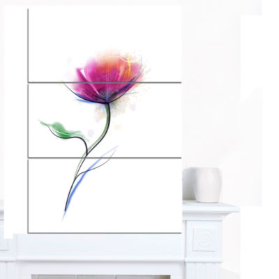 Designart Vector Watercolor Floral Design Large Floral Canvas Art Print - 3 Panels