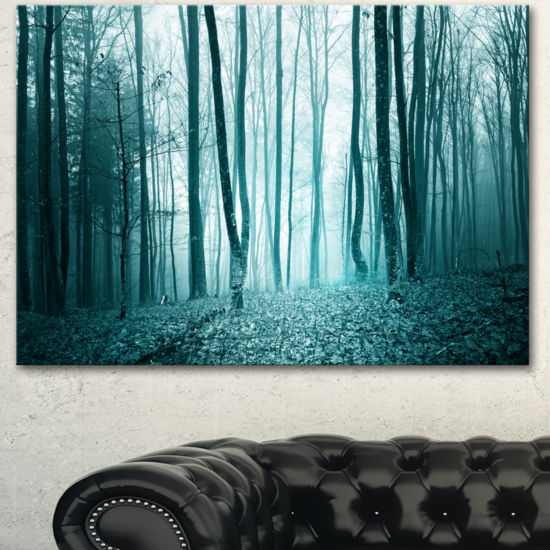 Designart Turquoise Colored Magic Forest Modern Forest Canvas Art