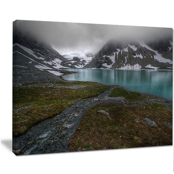 Designart Turquoise Mountain Lake With Clouds Landscape Canvas Art Print
