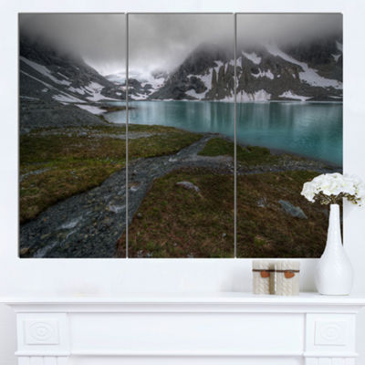 Designart Turquoise Mountain Lake With Clouds Landscape Canvas Art Print - 3 Panels