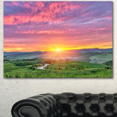 Designart Tuscany Sunrise With Pink Sky Large Landscape Canvas Art
