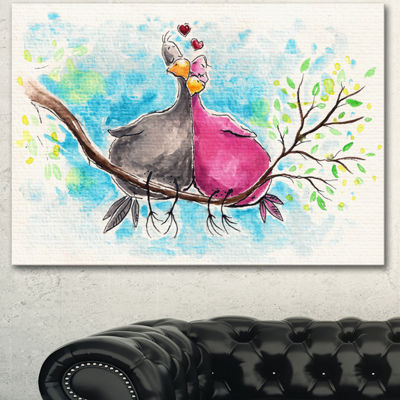 Designart Two Birds In Love On Branch Abstract Canvas Art Print