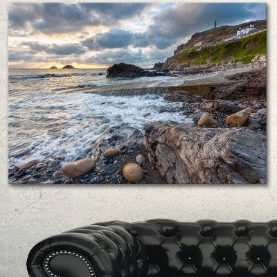 Design Art Priests Cove Cape Cornwall Large Seashore Canvas Art Print - 3 Panels