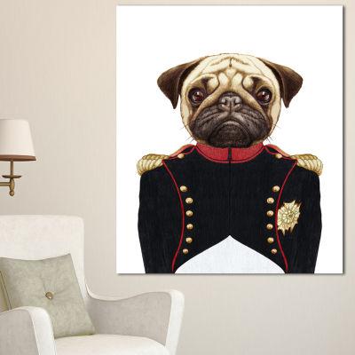 Designart Pug Dog In Military Uniform Animal Canvas Art Print - 3 Panels