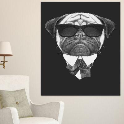Designart Pug Dog Portrait In Suit Animal CanvasArt Print - 3 Panels