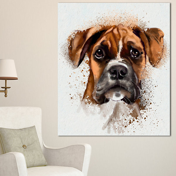 Designart Serious Brown Dog Watercolor Animal Canvas Wall Art - 3 Panels