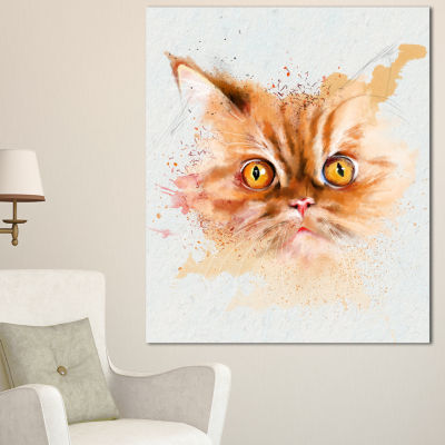 Designart Serious Cat Face Watercolor Sketch LargeAnimal Canvas Artwork
