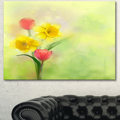 Designart Tulips And Daffodils In Soft Color AndBlur Floral Canvas Art Print