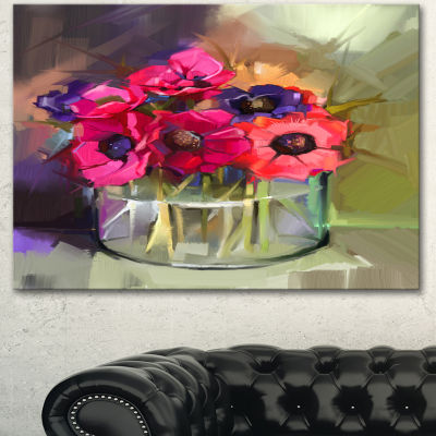 Designart Red Anonymous Flower Bouquet Large Floral Canvas Art Print