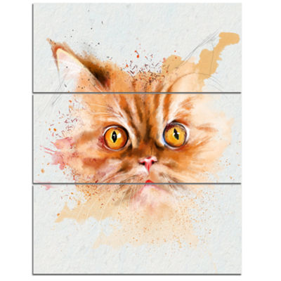 Designart Serious Cat Face Watercolor Sketch LargeAnimal Canvas Artwork - 3 Panels