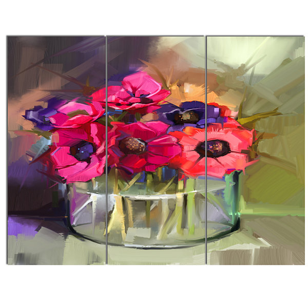 Designart Red Anonymous Flower Bouquet Large Floral Canvas Art Print - 3 Panels