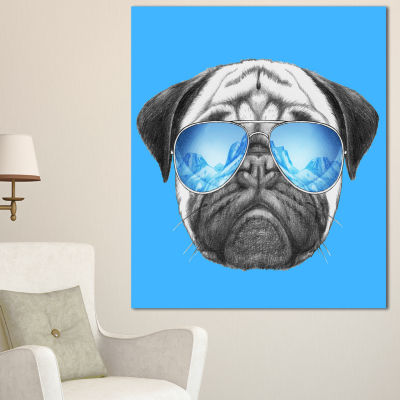 Designart Pug Dog With Mirror Sunglasses Animal Canvas Art Print - 3 Panels