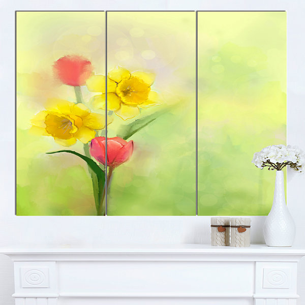 Designart Tulips And Daffodils In Soft Color AndBlur Floral Canvas Art Print - 3 Panels