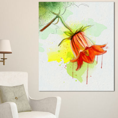 Designart Red Bellflower Sketch Watercolor FloralCanvas Art Print