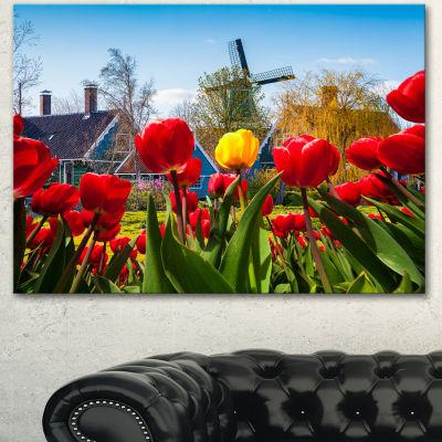 Design Art Tulips In The Netherlands Village Floral Canvas Art Print
